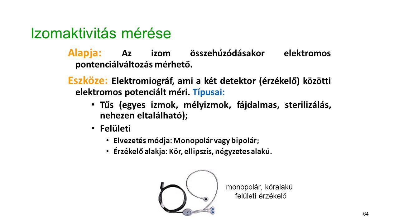 64 Izomaktivitás mérése Alapja: Az izom összehúzódásakor elektromos pontenciálváltozás mérhető. Eszköze: Elektromiográf, ami a két detektor (érzékelő)