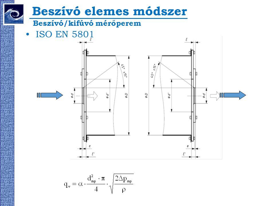 Beszívó elemes módszer ISO EN 5801 Beszívó/kifúvó mérőperem