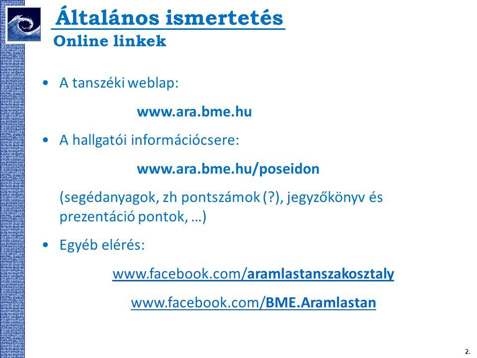 2. Általános ismertetés A tanszéki weblap: www.ara.bme.hu A hallgatói információcsere: www.ara.bme.hu/poseidon (segédanyagok, zh pontszámok (?), jegyz