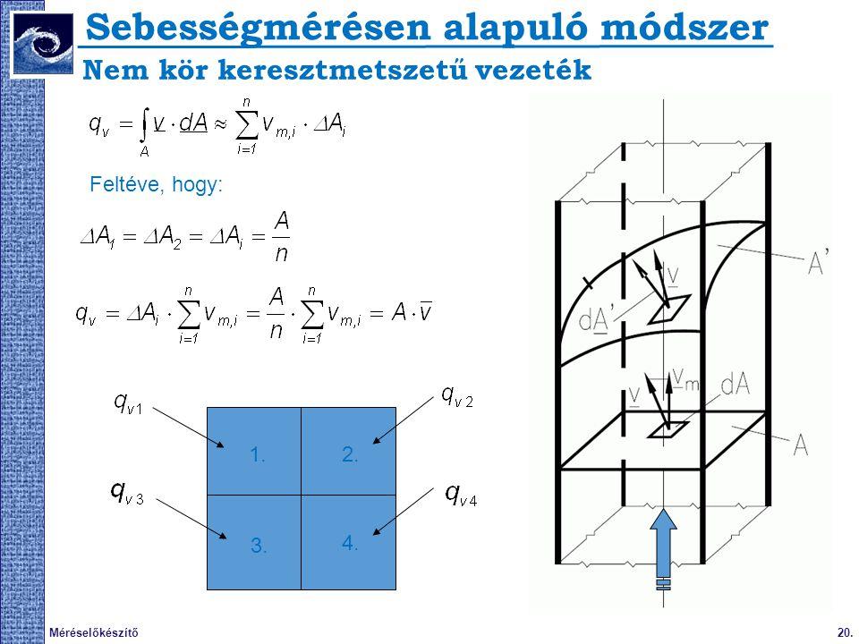 20.Méréselőkészítő Nem kör keresztmetszetű vezeték Feltéve, hogy: 1.2. 3. 4. Sebességmérésen alapuló módszer