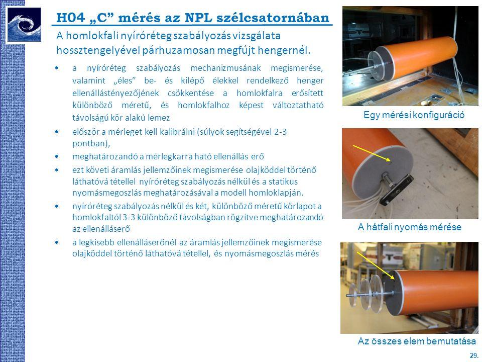 """29. H04 """"C"""" mérés az NPL szélcsatornában A homlokfali nyíróréteg szabályozás vizsgálata hossztengelyével párhuzamosan megfújt hengernél. a nyíróréteg"""