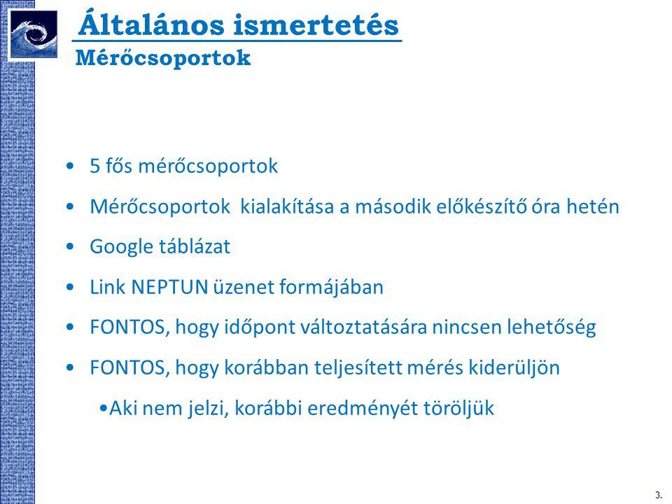 3. Általános ismertetés 5 fős mérőcsoportok Mérőcsoportok kialakítása a második előkészítő óra hetén Google táblázat Link NEPTUN üzenet formájában FON