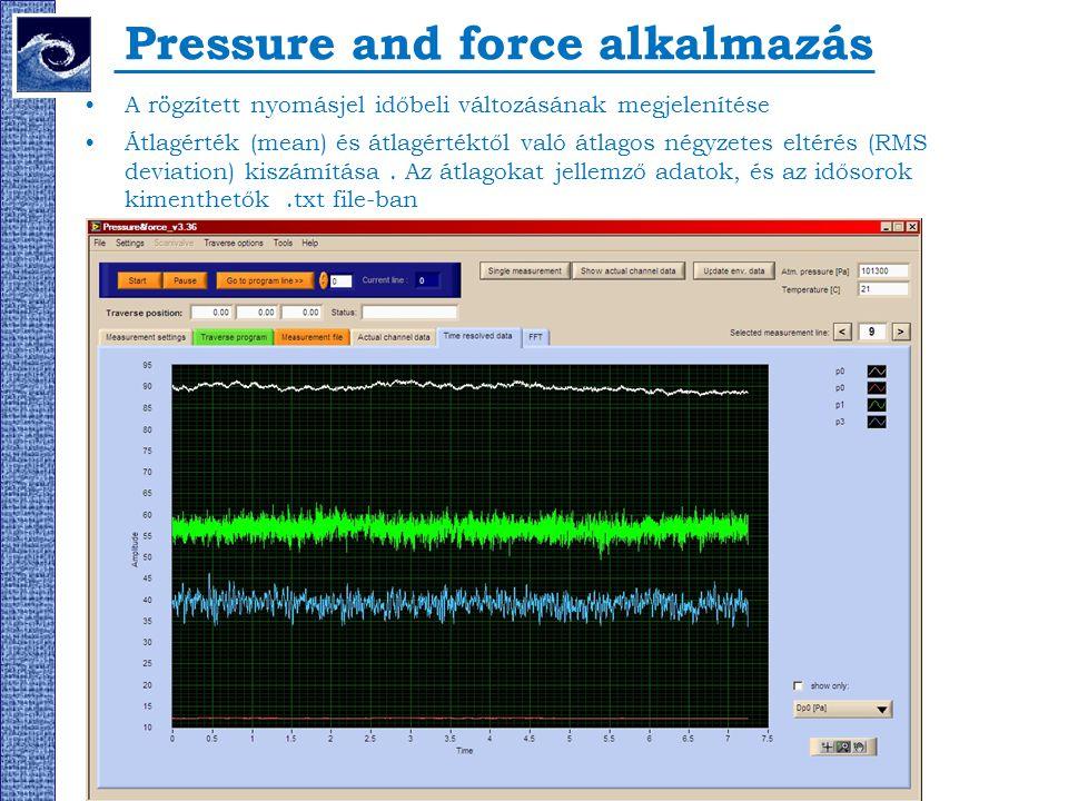 Pressure and force alkalmazás A rögzített nyomásjel időbeli változásának megjelenítése Átlagérték (mean) és átlagértéktől való átlagos négyzetes eltér