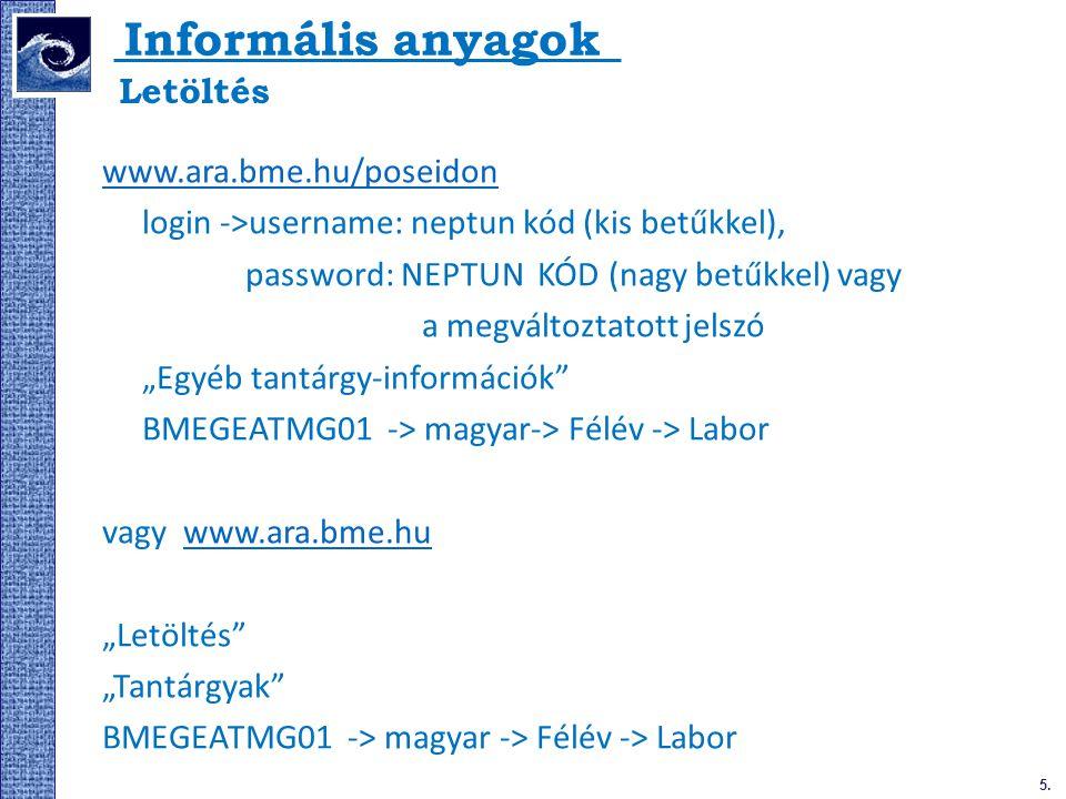 Informális anyagok www.ara.bme.hu/poseidon login ->username: neptun kód (kis betűkkel), password: NEPTUN KÓD (nagy betűkkel) vagy a megváltoztatott je