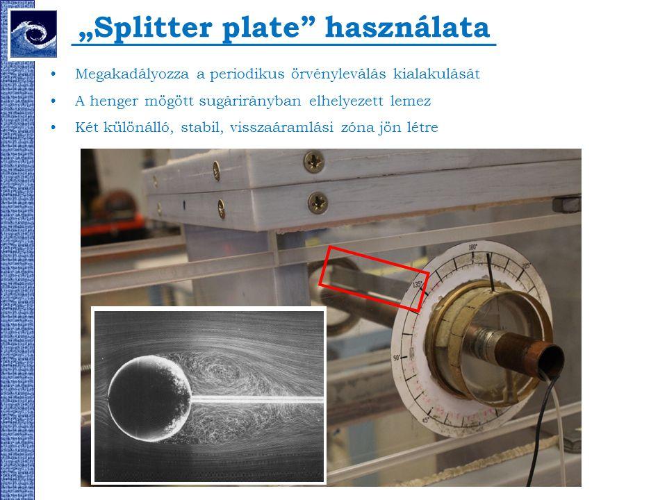 """""""Splitter plate"""" használata Megakadályozza a periodikus örvényleválás kialakulását A henger mögött sugárirányban elhelyezett lemez Két különálló, stab"""