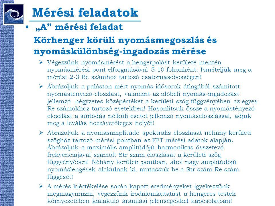 """Mérési feladatok """"A"""" mérési feladat Körhenger körüli nyomásmegoszlás és nyomáskülönbség-ingadozás mérése  Végezzünk nyomásmérést a hengerpalást kerül"""