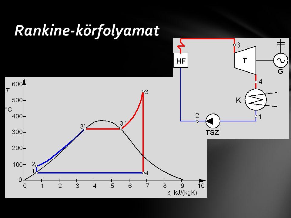 Ipari megvalósítás: kondenzációs gőzerőmű Rankine-körfolyamat