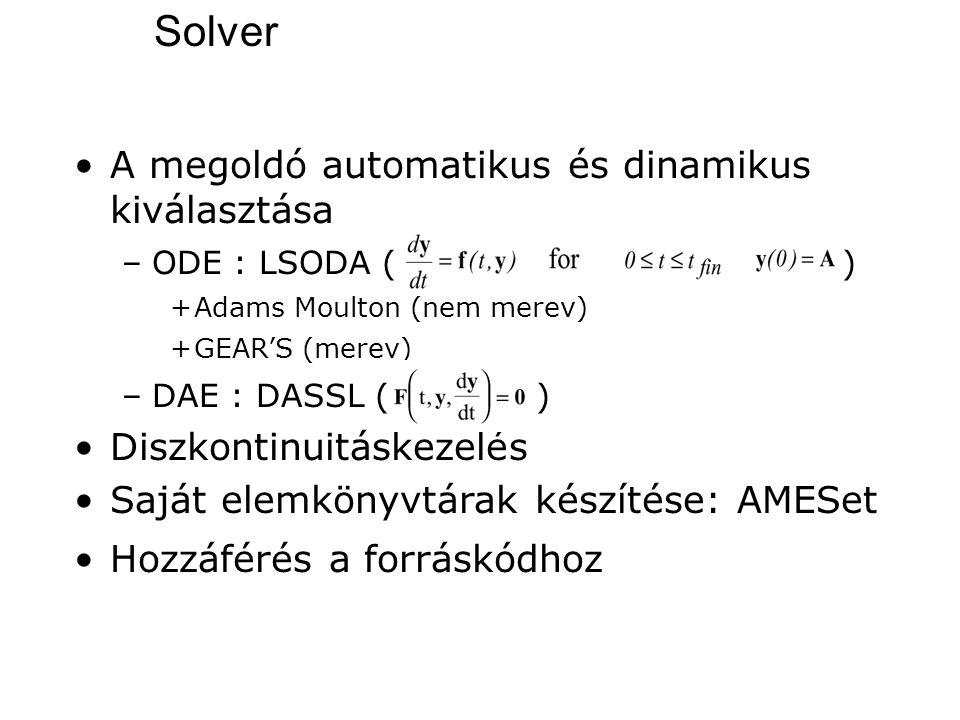 A megoldó automatikus és dinamikus kiválasztása –ODE : LSODA () +Adams Moulton (nem merev) +GEAR'S (merev) –DAE : DASSL ( ) Diszkontinuitáskezelés Saj