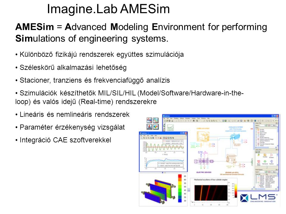 AMESim = Advanced Modeling Environment for performing Simulations of engineering systems. Imagine.Lab AMESim Különböző fizikájú rendszerek együttes sz