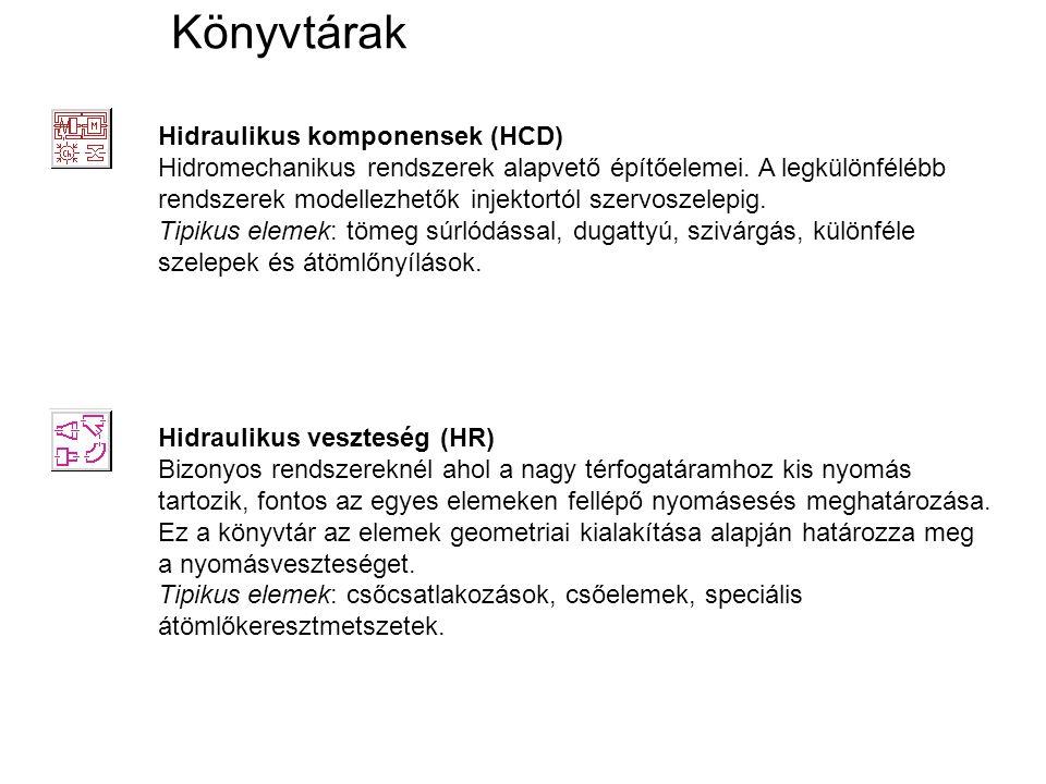 Könyvtárak Hidraulikus komponensek (HCD) Hidromechanikus rendszerek alapvető építőelemei. A legkülönfélébb rendszerek modellezhetők injektortól szervo