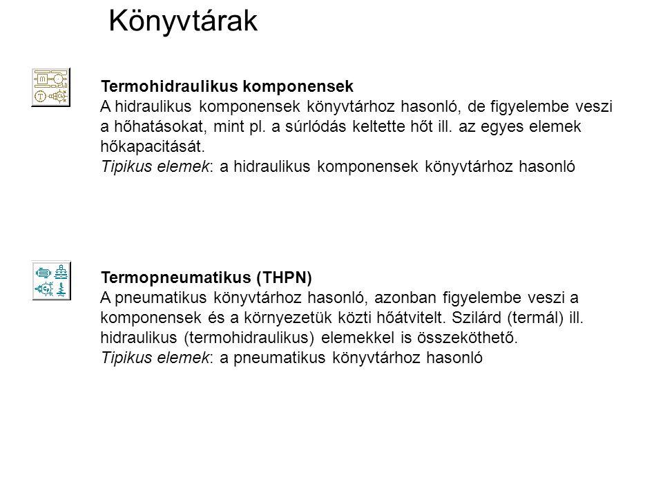 Könyvtárak Termohidraulikus komponensek A hidraulikus komponensek könyvtárhoz hasonló, de figyelembe veszi a hőhatásokat, mint pl. a súrlódás keltette