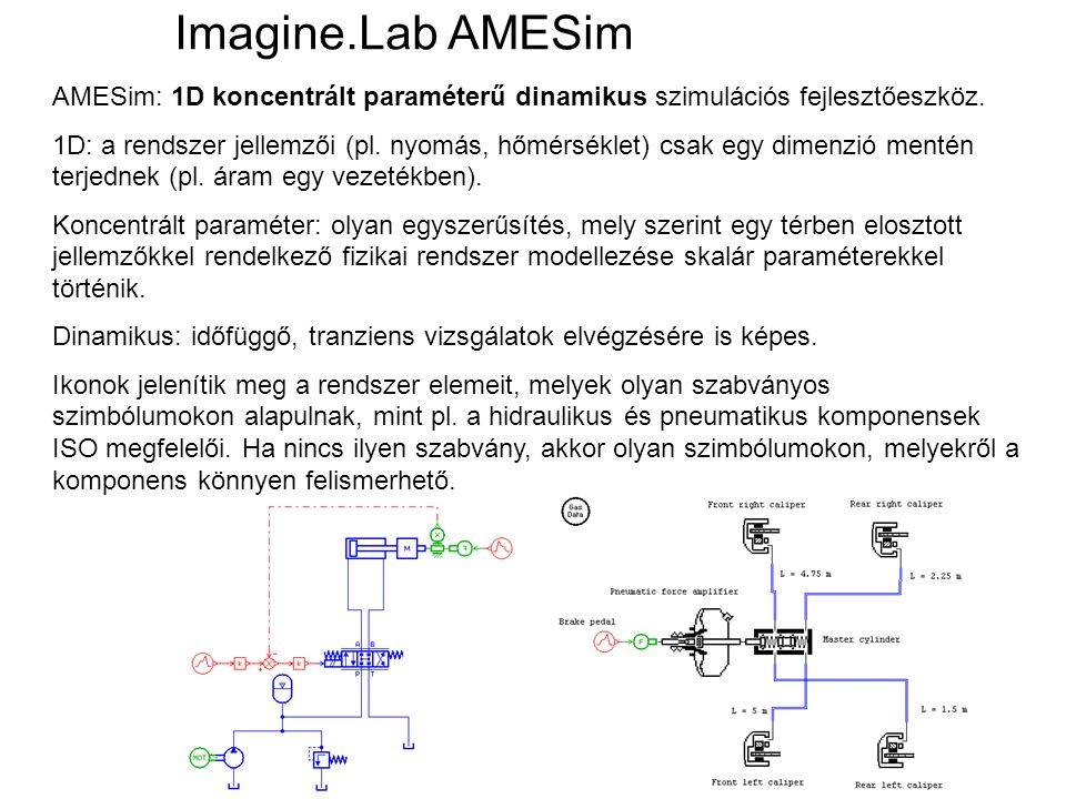 AMESim: 1D koncentrált paraméterű dinamikus szimulációs fejlesztőeszköz. 1D: a rendszer jellemzői (pl. nyomás, hőmérséklet) csak egy dimenzió mentén t