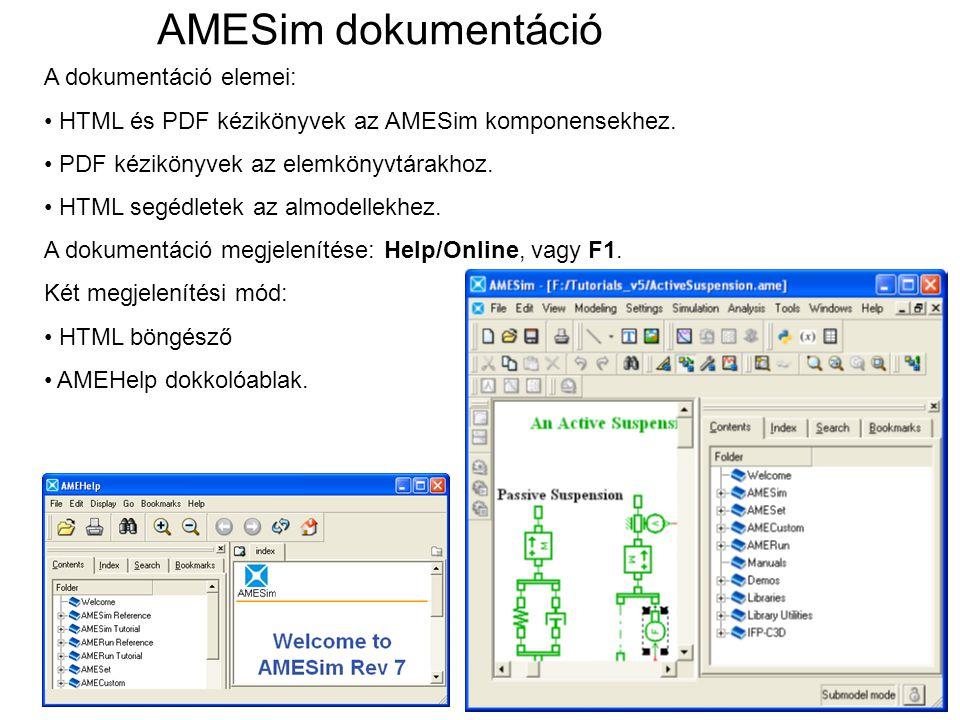 A dokumentáció elemei: HTML és PDF kézikönyvek az AMESim komponensekhez. PDF kézikönyvek az elemkönyvtárakhoz. HTML segédletek az almodellekhez. A dok