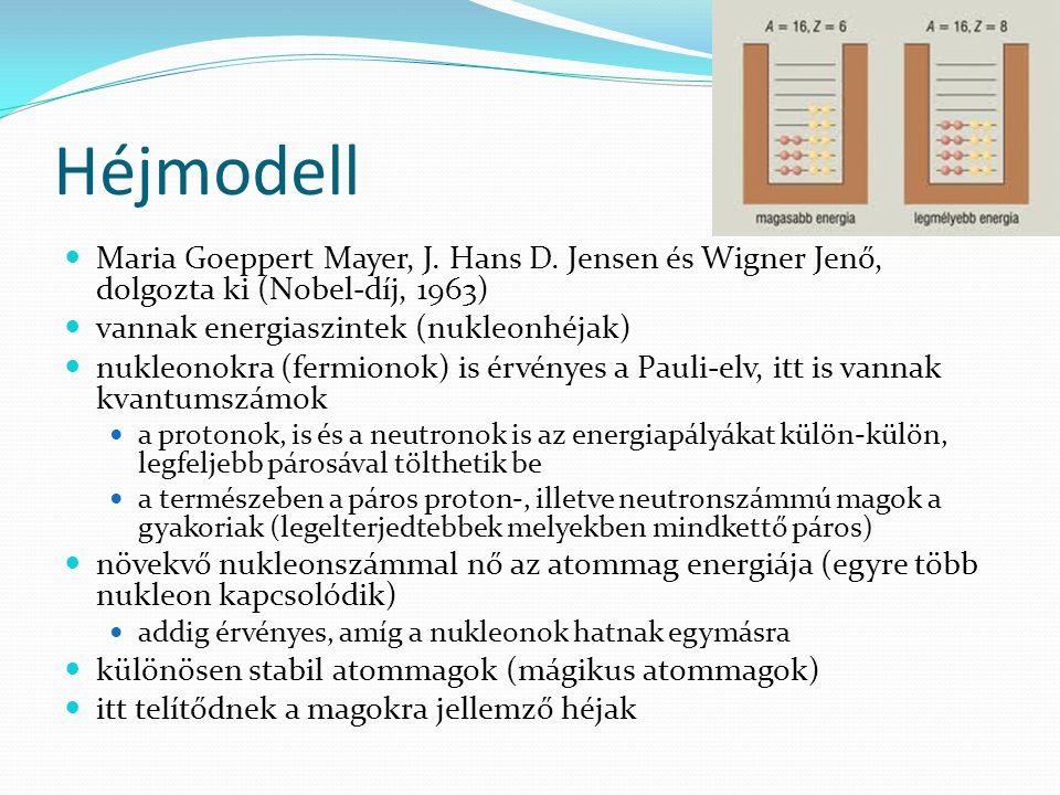 Héjmodell Maria Goeppert Mayer, J. Hans D. Jensen és Wigner Jenő, dolgozta ki (Nobel-díj, 1963) vannak energiaszintek (nukleonhéjak) nukleonokra (ferm