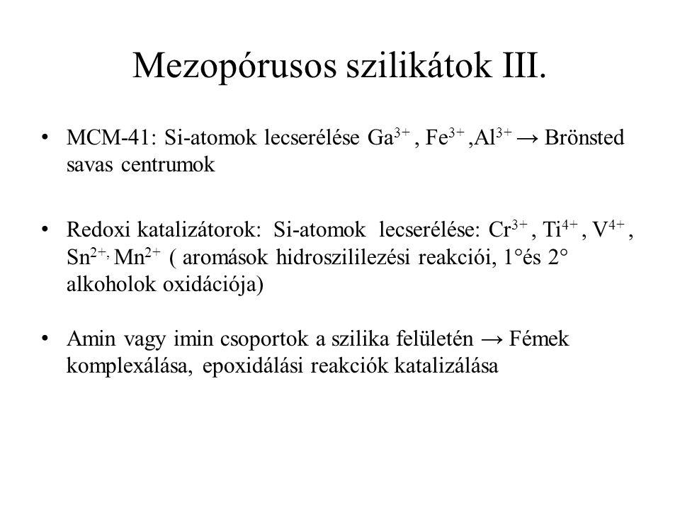 Mezopórusos szilikátok III. MCM-41: Si-atomok lecserélése Ga 3+, Fe 3+,Al 3+ → Brönsted savas centrumok Redoxi katalizátorok: Si-atomok lecserélése: C