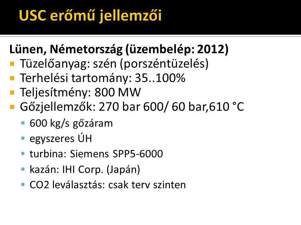 Lünen, Németország (üzembelép: 2012)  Tüzelőanyag: szén (porszéntüzelés)  Terhelési tartomány: 35..100%  Teljesítmény: 800 MW  Gőzjellemzők: 270 b