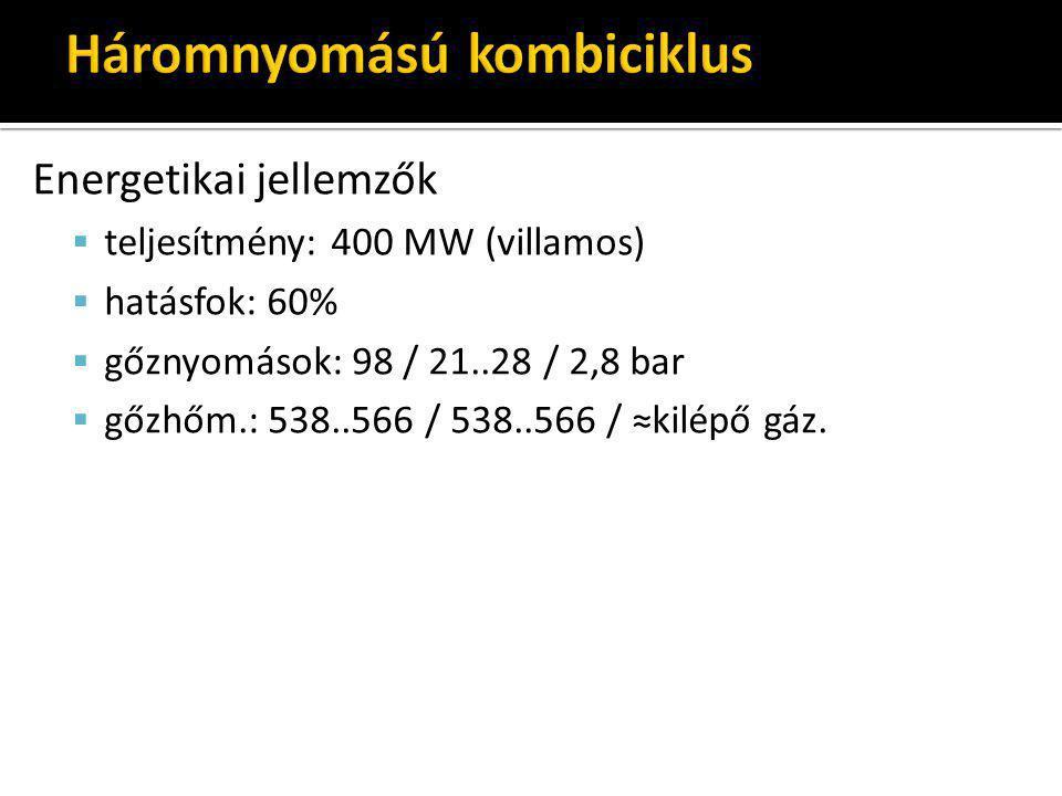 Energetikai jellemzők  teljesítmény: 400 MW (villamos)  hatásfok: 60%  gőznyomások: 98 / 21..28 / 2,8 bar  gőzhőm.: 538..566 / 538..566 / ≈kilépő