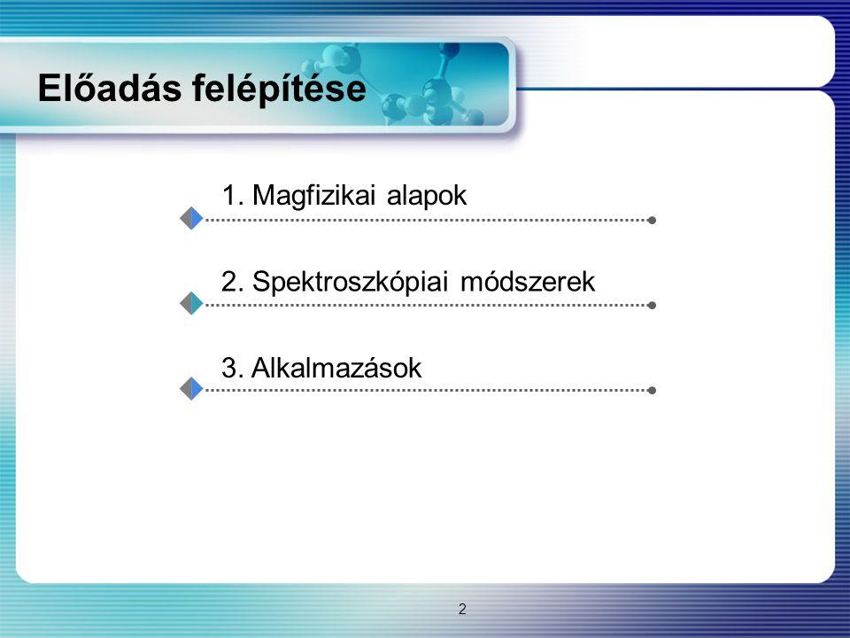 Előadás felépítése 1. Magfizikai alapok 2. Spektroszkópiai módszerek 3. Alkalmazások 2