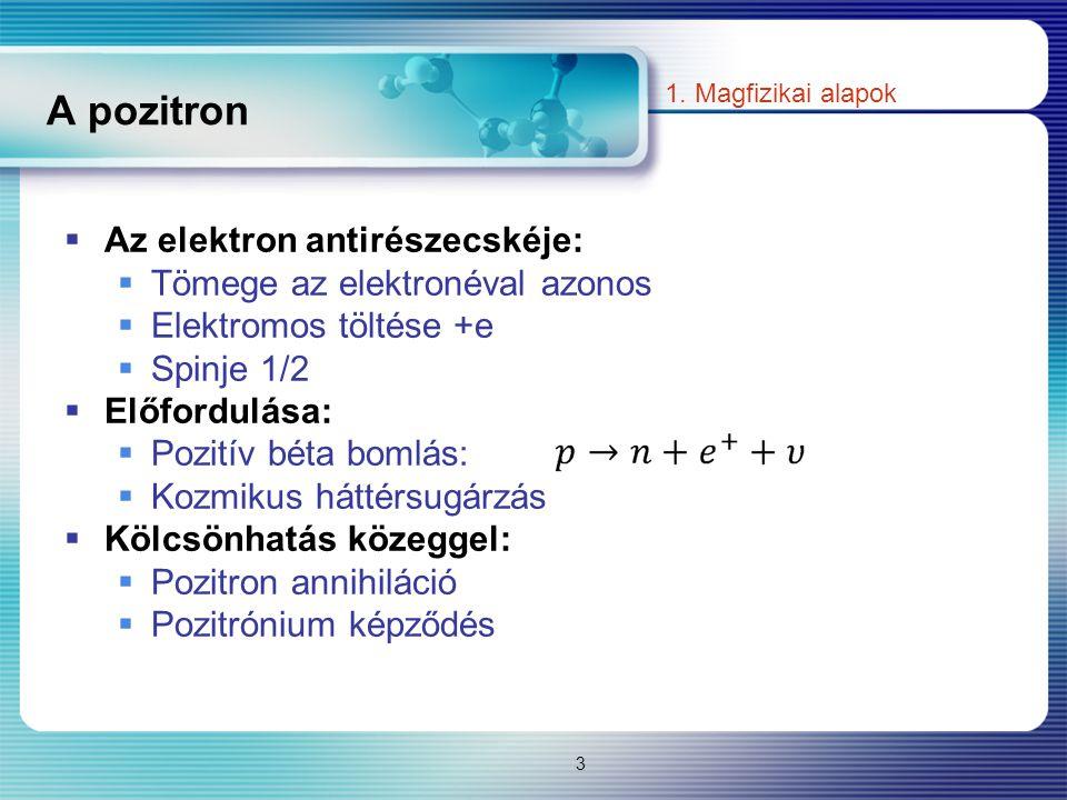 A pozitron  Az elektron antirészecskéje:  Tömege az elektronéval azonos  Elektromos töltése +e  Spinje 1/2  Előfordulása:  Pozitív béta bomlás: