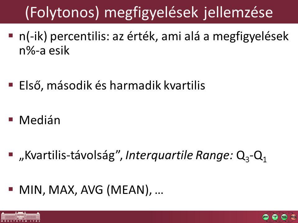 (Folytonos) megfigyelések jellemzése  n(-ik) percentilis: az érték, ami alá a megfigyelések n%-a esik  Első, második és harmadik kvartilis  Medián