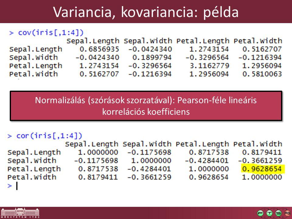 Normalizálás (szórások szorzatával): Pearson-féle lineáris korrelációs koefficiens