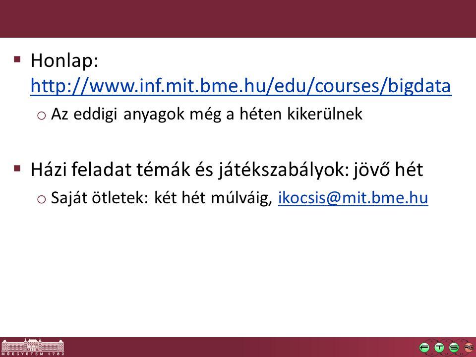  Honlap: http://www.inf.mit.bme.hu/edu/courses/bigdata http://www.inf.mit.bme.hu/edu/courses/bigdata o Az eddigi anyagok még a héten kikerülnek  Ház