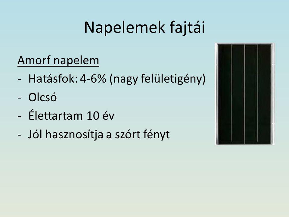 Napelemek fajtái Amorf napelem -Hatásfok: 4-6% (nagy felületigény) -Olcsó -Élettartam 10 év -Jól hasznosítja a szórt fényt