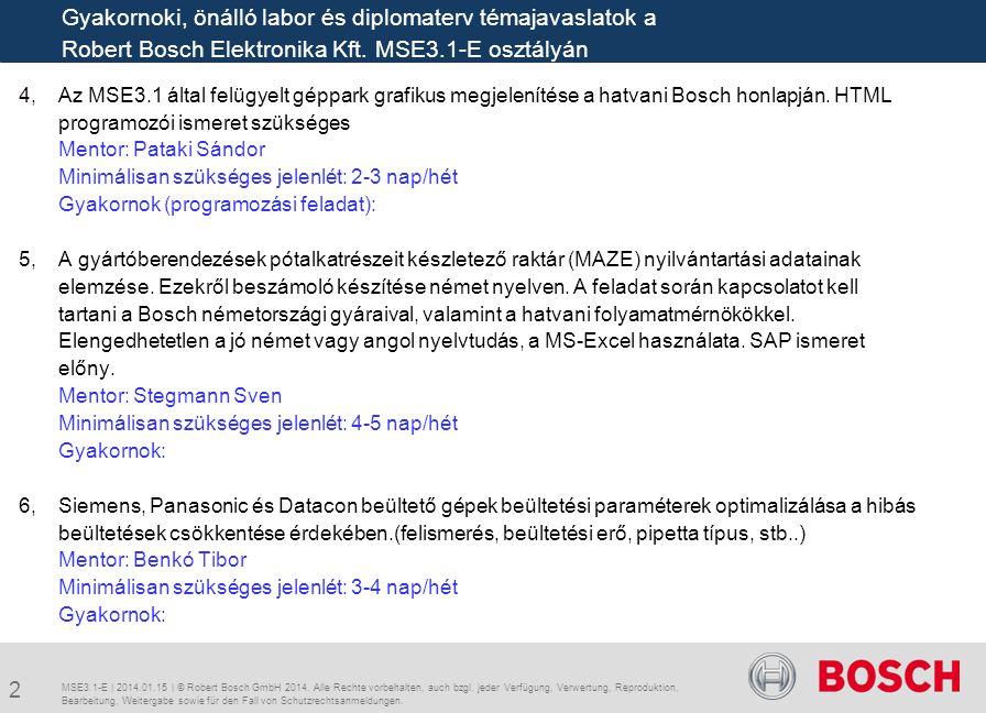 4, Az MSE3.1 által felügyelt géppark grafikus megjelenítése a hatvani Bosch honlapján. HTML programozói ismeret szükséges Mentor: Pataki Sándor Minimá