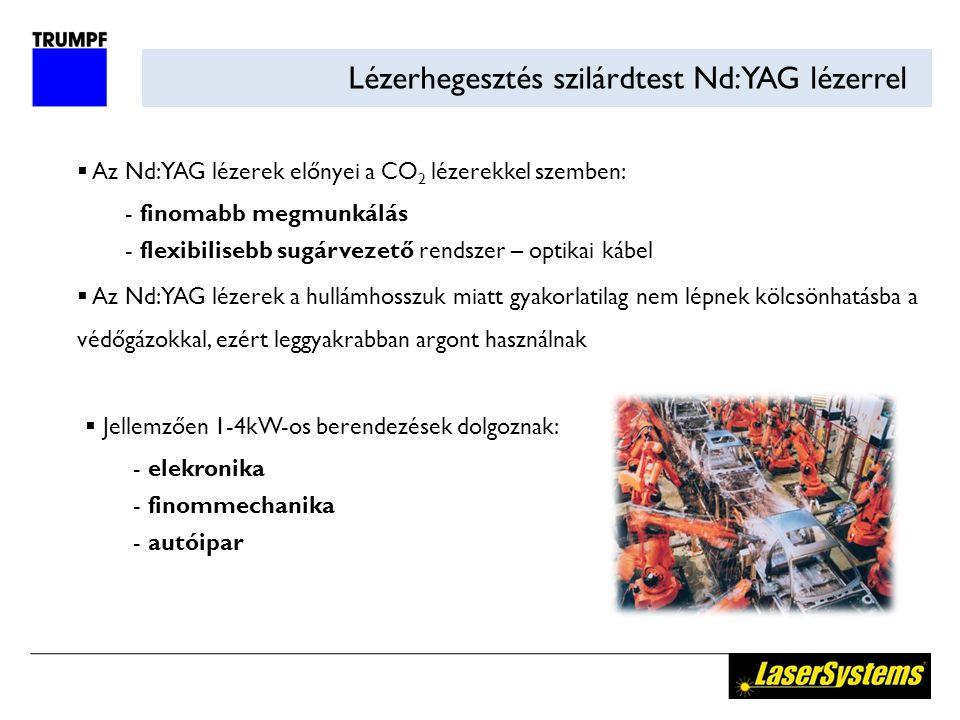 Lézerhegesztés szilárdtest Nd:YAG lézerrel  Az Nd:YAG lézerek előnyei a CO 2 lézerekkel szemben:  finomabb megmunkálás  flexibilisebb sugárvezető rendszer – optikai kábel  Az Nd:YAG lézerek a hullámhosszuk miatt gyakorlatilag nem lépnek kölcsönhatásba a védőgázokkal, ezért leggyakrabban argont használnak  Jellemzően 1-4kW-os berendezések dolgoznak:  elekronika  finommechanika  autóipar