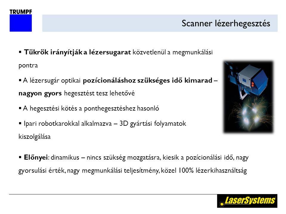 Scanner lézerhegesztés  Tükrök irányítják a lézersugarat közvetlenül a megmunkálási pontra  A lézersugár optikai pozícionáláshoz szükséges idő kimarad – nagyon gyors hegesztést tesz lehetővé  A hegesztési kötés a ponthegesztéshez hasonló  Ipari robotkarokkal alkalmazva – 3D gyártási folyamatok kiszolgálása  Előnyei: dinamikus – nincs szükség mozgatásra, kiesik a pozícionálási idő, nagy gyorsulási érték, nagy megmunkálási teljesítmény, közel 100% lézerkihasználtság