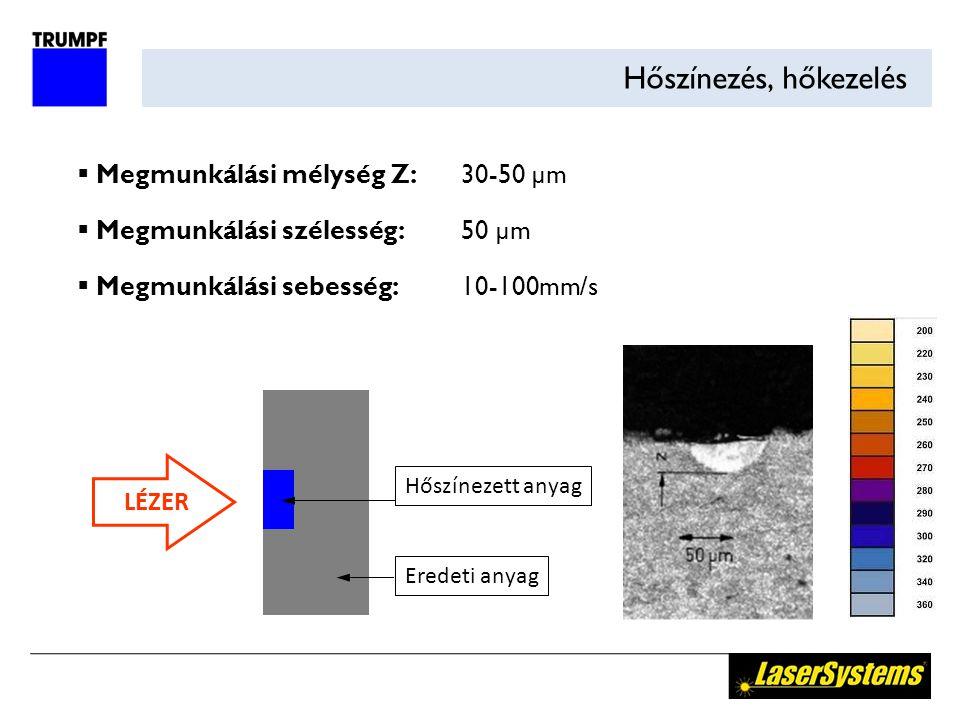 Hőszínezés, hőkezelés LÉZER Hőszínezett anyag Eredeti anyag  Megmunkálási mélység Z:30-50 µm  Megmunkálási szélesség:50 µm  Megmunkálási sebesség:10-100mm/s