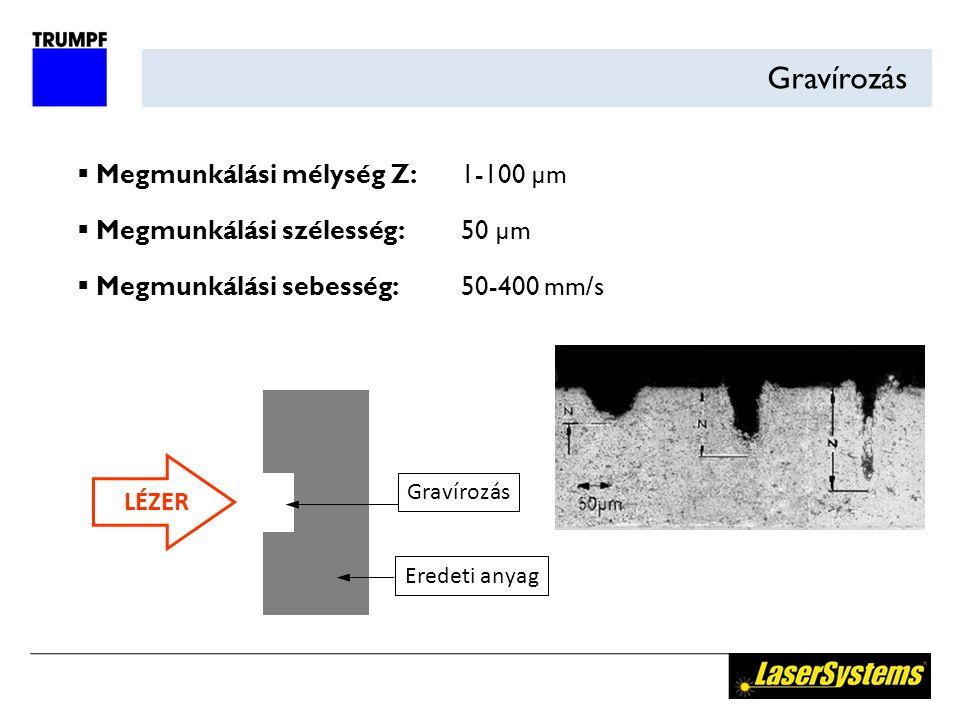 Gravírozás LÉZER Gravírozás Eredeti anyag  Megmunkálási mélység Z:1-100 µm  Megmunkálási szélesség:50 µm  Megmunkálási sebesség:50-400 mm/s