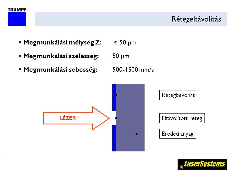 Rétegeltávolítás  Megmunkálási mélység Z: < 50 µm  Megmunkálási szélesség:50 µm  Megmunkálási sebesség:500-1500 mm/s LÉZER Eltávolított réteg Erede