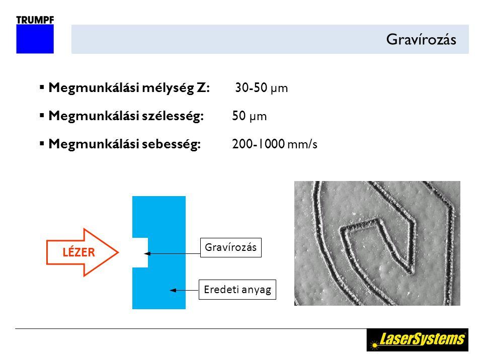 Gravírozás  Megmunkálási mélység Z: 30-50 µm  Megmunkálási szélesség:50 µm  Megmunkálási sebesség:200-1000 mm/s LÉZER Gravírozás Eredeti anyag
