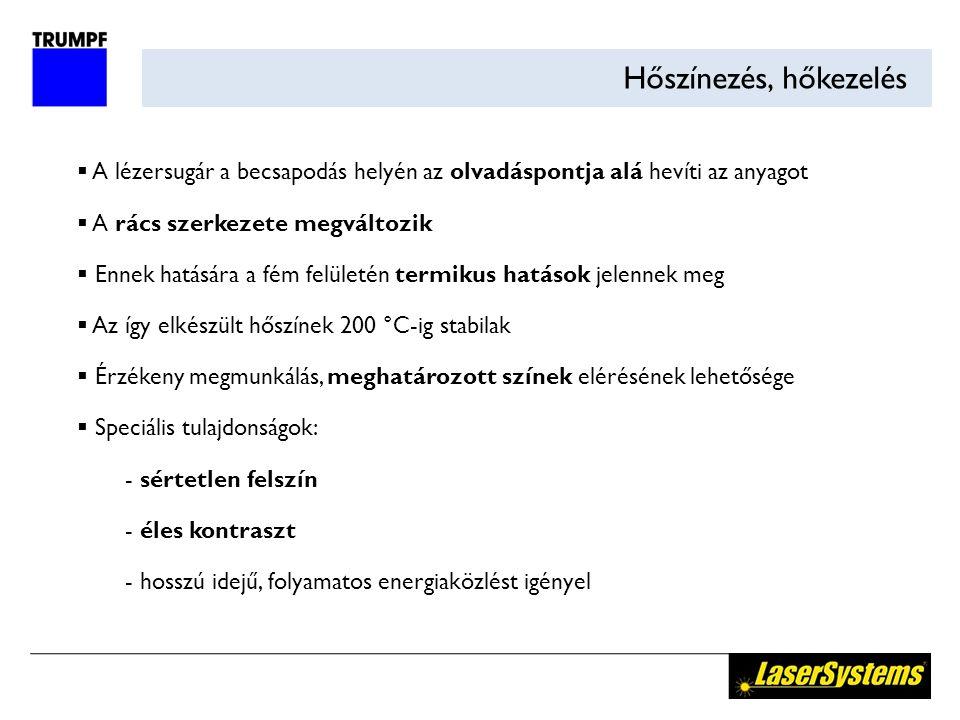 Bevonat eltávolítás  Megmunkálási mélység Z: 20-50 µm  Megmunkálási szélesség:50 µm  Megmunkálási sebesség:400-1500 mm/s LÉZER Eltávolított réteg Eredeti anyag Rétegbevonat