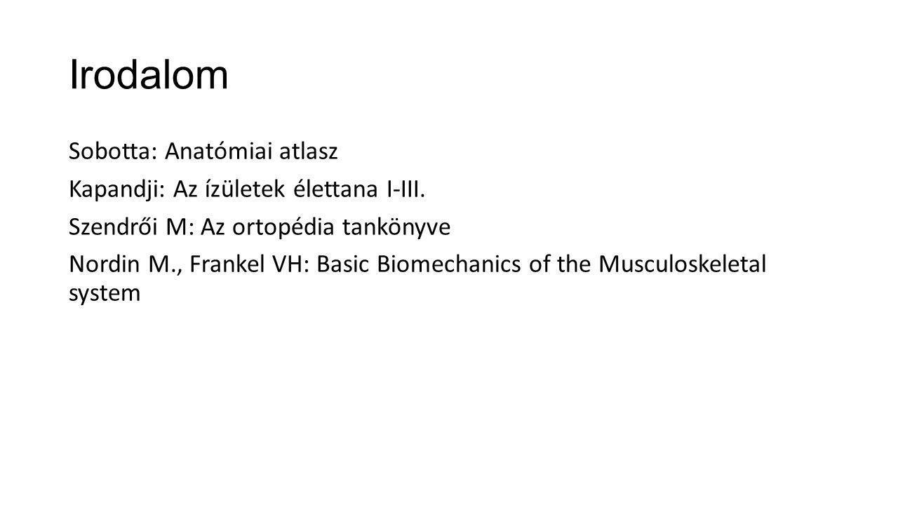 Irodalom Sobotta: Anatómiai atlasz Kapandji: Az ízületek élettana I-III. Szendrői M: Az ortopédia tankönyve Nordin M., Frankel VH: Basic Biomechanics
