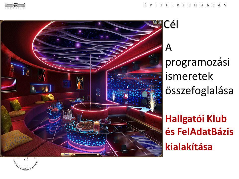 É P Í T É S B E R U H Á Z Á S I II III IVCél A programozási ismeretek összefoglalása Hallgatói Klub és FelAdatBázis kialakítása