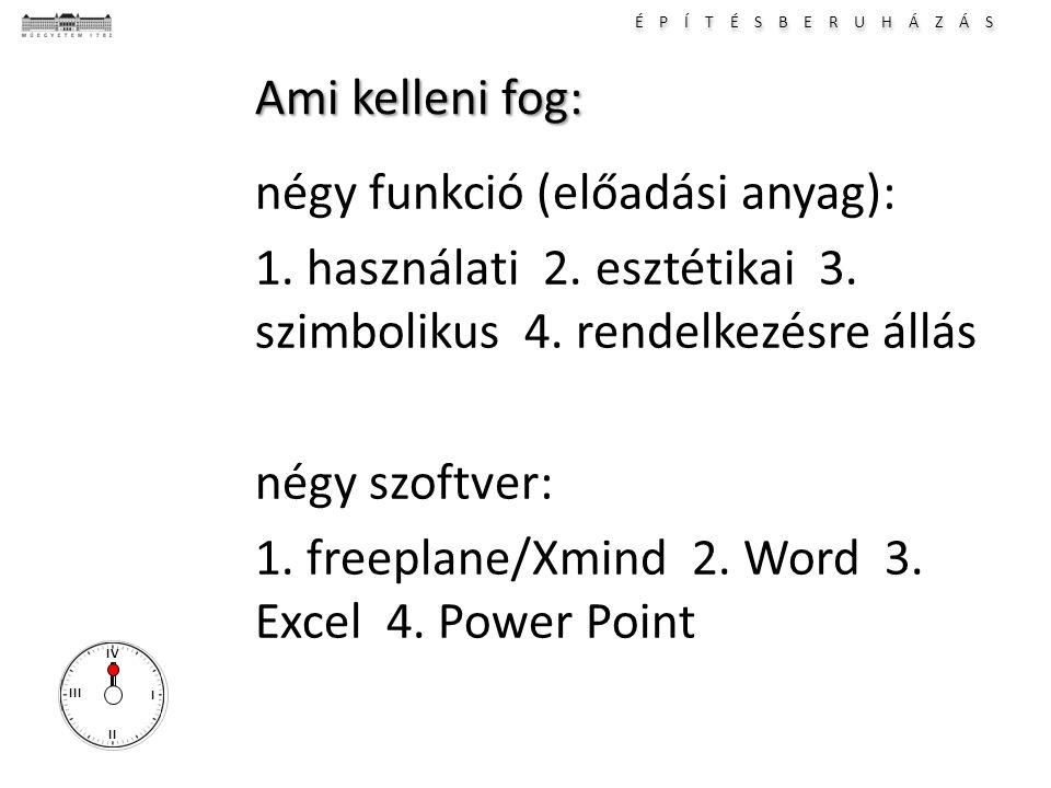 É P Í T É S B E R U H Á Z Á S I II III IV Ami kelleni fog: négy funkció (előadási anyag): 1.