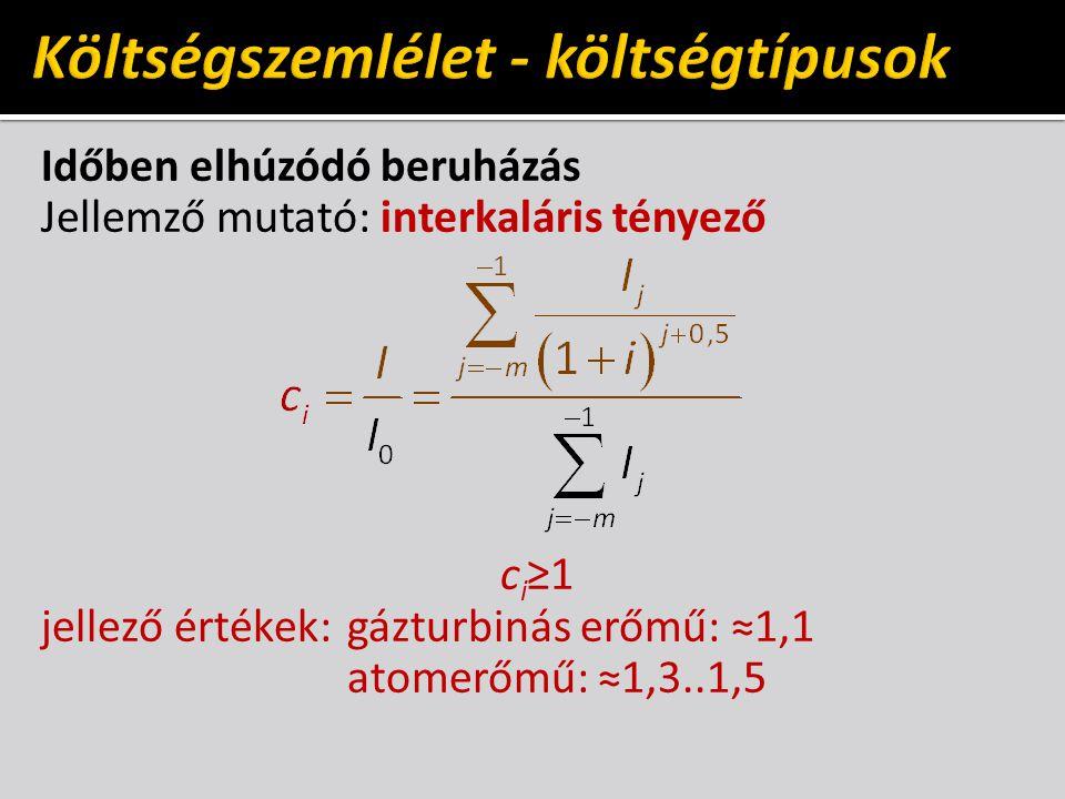 Időben elhúzódó beruházás Jellemző mutató: interkaláris tényező c i ≥1 jellező értékek:gázturbinás erőmű: ≈1,1 atomerőmű: ≈1,3..1,5