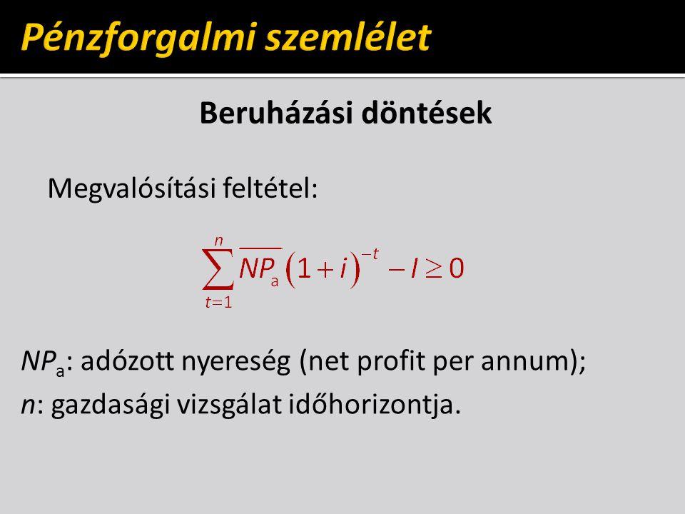 Beruházási döntések Megvalósítási feltétel: NP a : adózott nyereség (net profit per annum); n: gazdasági vizsgálat időhorizontja.