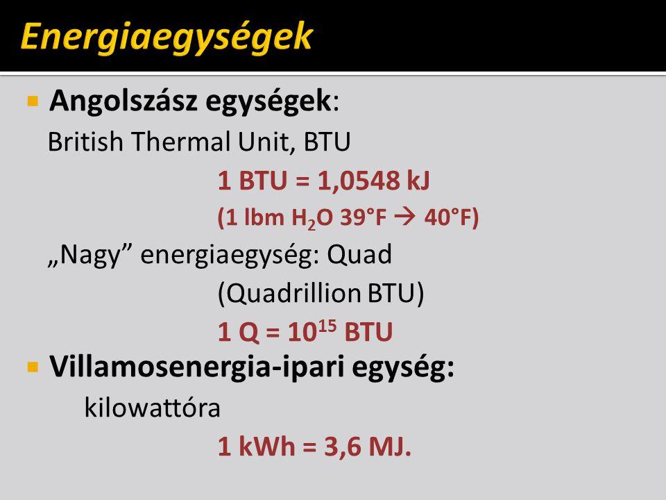 " Angolszász egységek: British Thermal Unit, BTU 1 BTU = 1,0548 kJ (1 lbm H 2 O 39°F  40°F) ""Nagy"" energiaegység: Quad (Quadrillion BTU) 1 Q = 10 15"