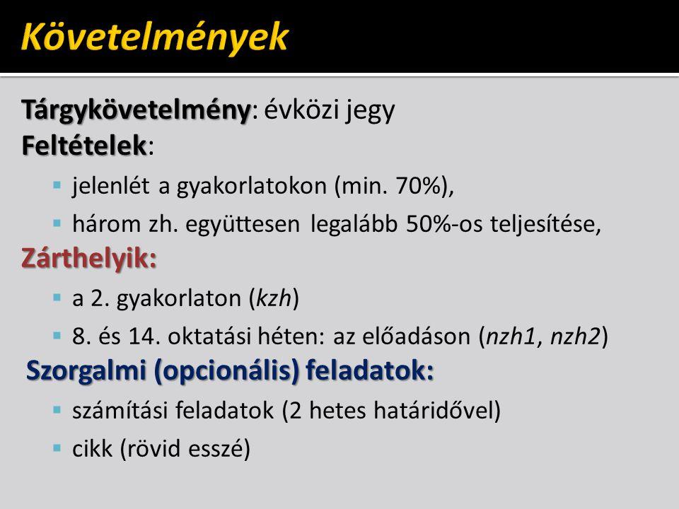 Tárgykövetelmény Tárgykövetelmény: évközi jegy Feltételek Feltételek:  jelenlét a gyakorlatokon (min. 70%),  három zh. együttesen legalább 50%-os te