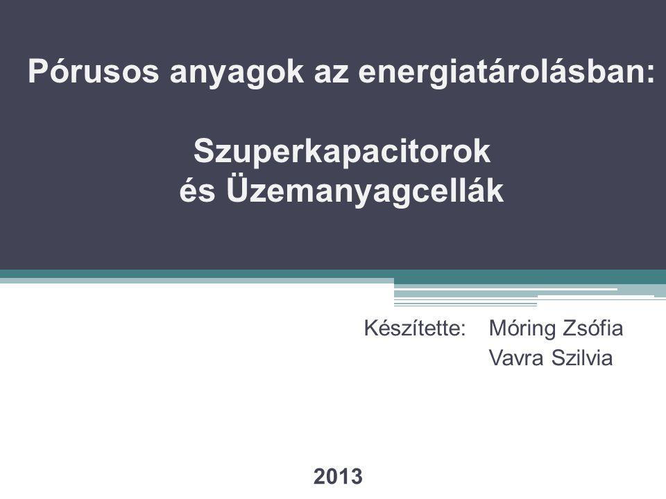 Pórusos anyagok az energiatárolásban: Szuperkapacitorok és Üzemanyagcellák Készítette: Móring Zsófia Vavra Szilvia 2013