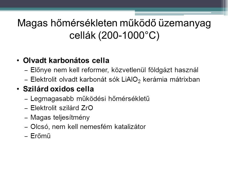 Magas hőmérsékleten működő üzemanyag cellák (200-1000°C) Olvadt karbonátos cella ‒ Előnye nem kell reformer, közvetlenül földgázt használ ‒ Elektrolit