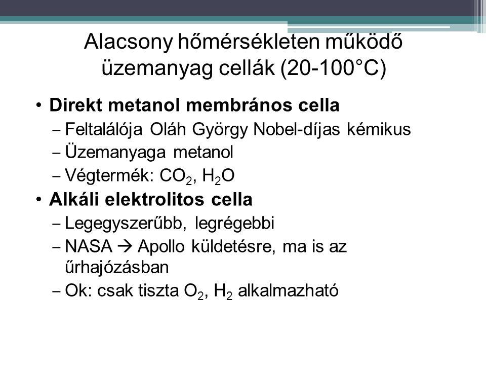 Alacsony hőmérsékleten működő üzemanyag cellák (20-100°C) Direkt metanol membrános cella ‒ Feltalálója Oláh György Nobel-díjas kémikus ‒ Üzemanyaga me
