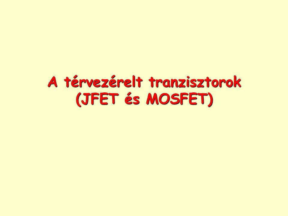 Térvezérelt tranzisztor (Field Effect Transistor, FET) Működésük alapelve, hogy egy térrészen átfolyó áramot úgy szabályozunk, hogy külső elektromos erőtérrel megváltoztatjuk a félvezető vezetőképességét, ill.