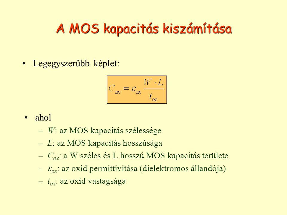 A MOS kapacitás kiszámítása ahol –W: az MOS kapacitás szélessége –L: az MOS kapacitás hosszúsága –C ox : a W széles és L hosszú MOS kapacitás területe