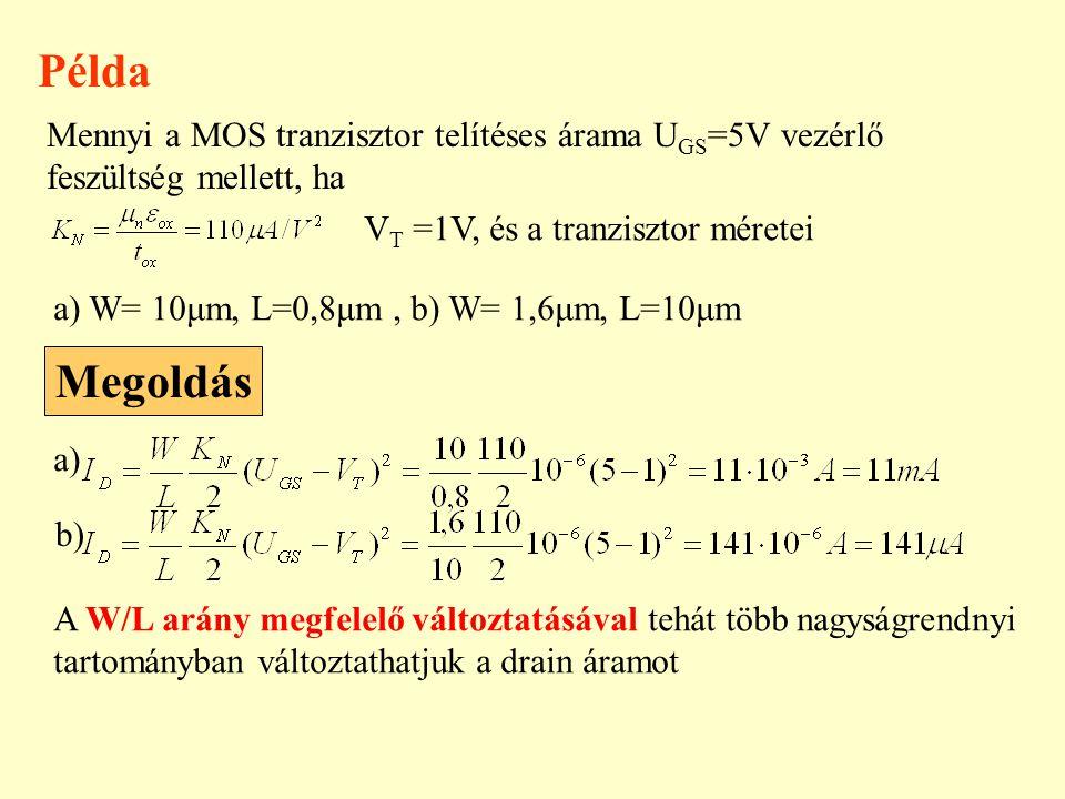 Példa Mennyi a MOS tranzisztor telítéses árama U GS =5V vezérlő feszültség mellett, ha V T =1V, és a tranzisztor méretei a) W= 10μm, L=0,8μm, b) W= 1,