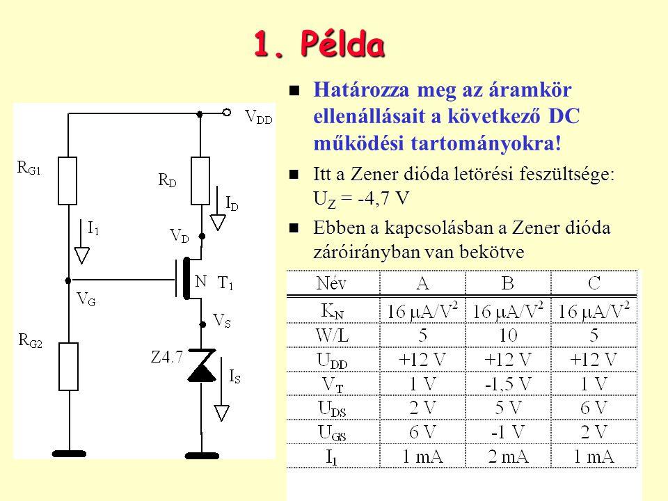 1. Példa n Határozza meg az áramkör ellenállásait a következő DC működési tartományokra! n Itt a Zener dióda letörési feszültsége: U Z = -4,7 V n Ebbe