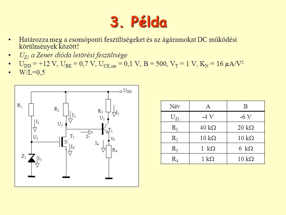 3. Példa Határozza meg a csomóponti feszültségeket és az ágáramokat DC működési körülmények között! U Z1 a Zener dióda letörési feszültsége U DD = +12